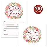 Bridal Shower Invitations ( 100 ) & Matched Thank You Notes ( 100 ) Set with Envelopes Bride Attendants Family Friends Fill-In Guest Invites & Folded Thank You Cards Large Celebration Best Value Pair
