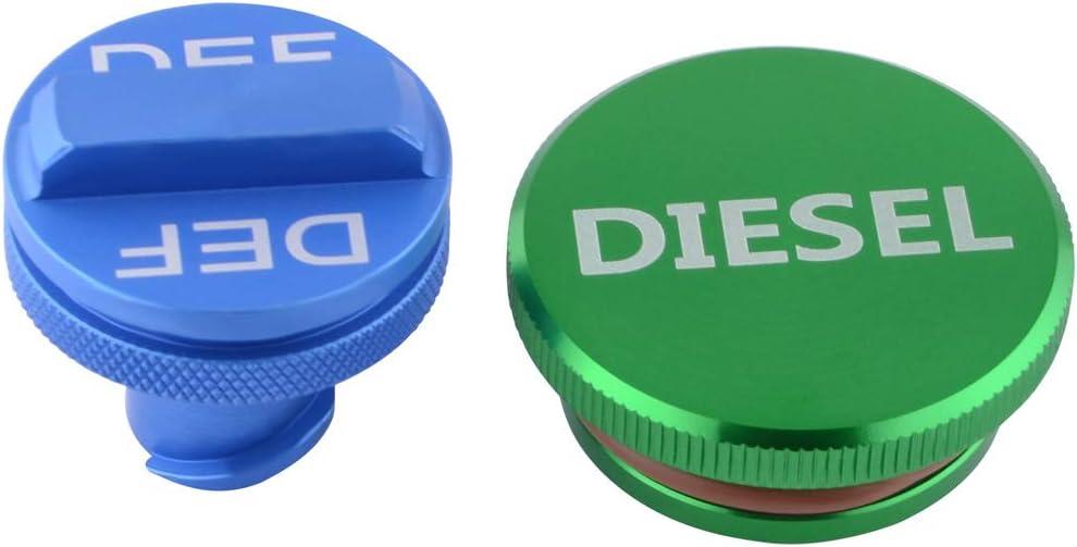 SPELAB Diesel Fuel Cap Magnetic for 2013-2018 Dodge Ram Billet Aluminum Fuel Tank Caps Set