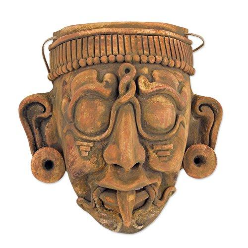 NOVICA Decorative Archaeological Ceramic Mask, Multicolor, Maya Lord Kinich Aha'