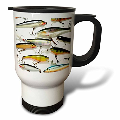 3dRose Fly Fishing Lures Travel Mug, 14-Ounce, Stainless Steel (Travel Mug Fishing)