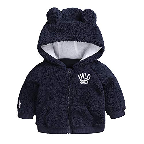 FEITONG Newborn Infant Baby Boys Girl Cartoon Ear Hooded Zipper Jacket Sweater Warm Clothes Coat(3-6M,Navy)