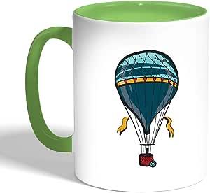 كوب سيراميك للقهوة، لون اخضر،  بتصميم منطاد