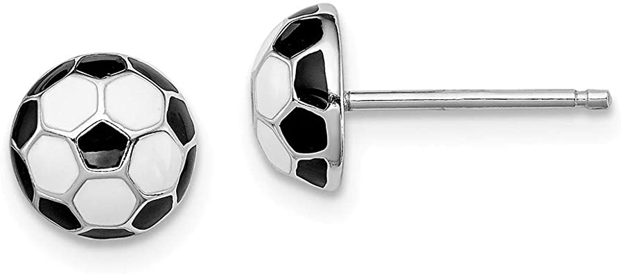 SOCCER BALL Sterling Silver Stud Earrings For Girls Ladies Nickel Free GIFT BOXED