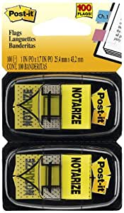 "Post-it Message Flags, ""Notarize"", Yellow, 1-Inch Wide, 50/Dispenser, 2-Dispensers/Pack"