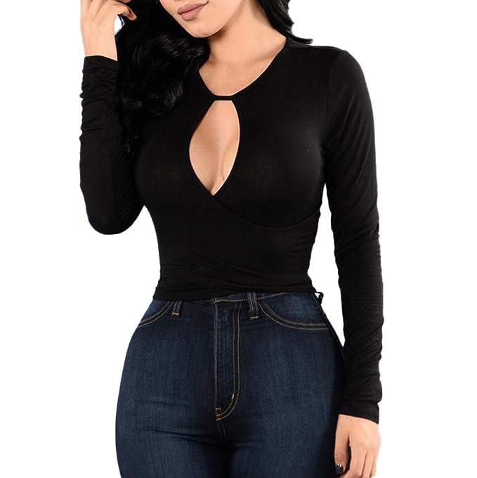 DEELIN El OtoñO De Las Mujeres Hueco Sexy Slim O-Cuello De Manga Larga Vendaje Camisa De La Camisa De La Mujer Camisa De Fondo Camisa: Amazon.es: Ropa y ...