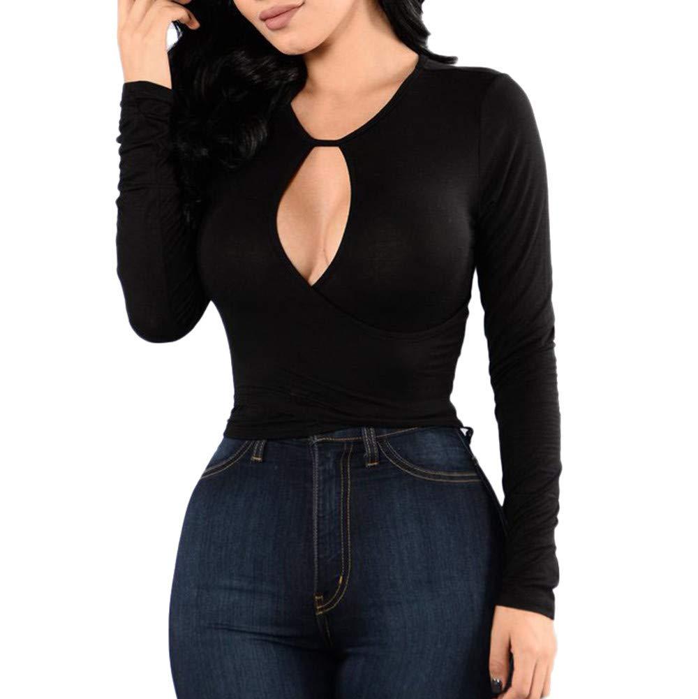 kaifongfu Bandage Shirt,Women Sexy Hollow O-Neck Autumn Elasticity Tops Blouse(Black2XL)