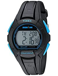 Timex Men's TW5K93900 Ironman Essential 10 Full-Size Black/Blue Resin Strap Watch