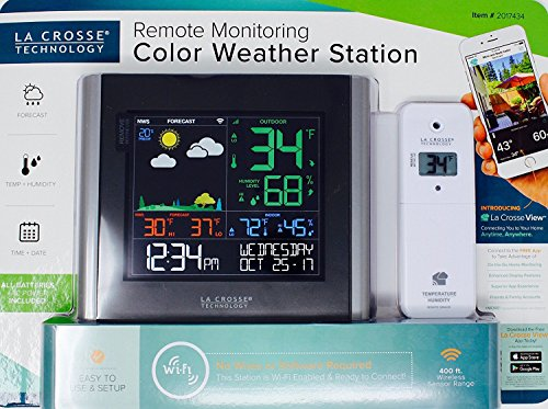 Black Wireless Weather Station (LA CROSSE Remote Monitoring Color Weather Station Black)