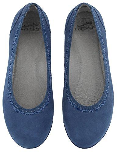 Ballet Milled Women's Dansko Blue Nubuck Flat Kristen ATn8Eq