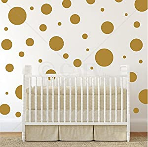 Superbe Assorted Vinyl Polka Dots Circle Wall Decals Vinyl Stickers Nursery Decor  (Gold/set Of 32)