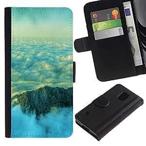 ZONECELL (No Para S5 Mini) Imagen Frontal Negro Cuero Tarjeta Ranura Trasera Funda Carcasa Diseño Tapa Cover Skin Protectora Case Para Samsung Galaxy S5 V SM-G900 - hermosas de la naturaleza nubes de montaña