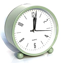 Alarm clock, Bidason Cube Office Desk Clock, No Ticking Noise Modern Cool Alarm Clocks for Bedrooms with Night Light, Battery Operated Travel Clock, Easy to set, Ideal Gift for Kids (Light Green)