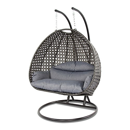 Dubai Collection Wicker Swing Chair with Stand PRO((2 Person)X-Large-PRO, Charcoal) ()