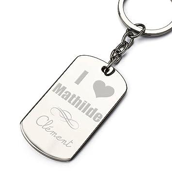 Llavero Personalizado I LOVE + nombre: Amazon.es: Coche y moto