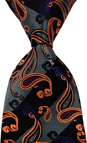 Scott Alone : New Classic Striped Paisley Jacquard Woven Silk Men's Tie Necktie (Black/Gold)