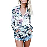 YIWULA Fashion Womens Floral Print Top Coat Outwear Sweatshirt Hooded Jacket Overcoat