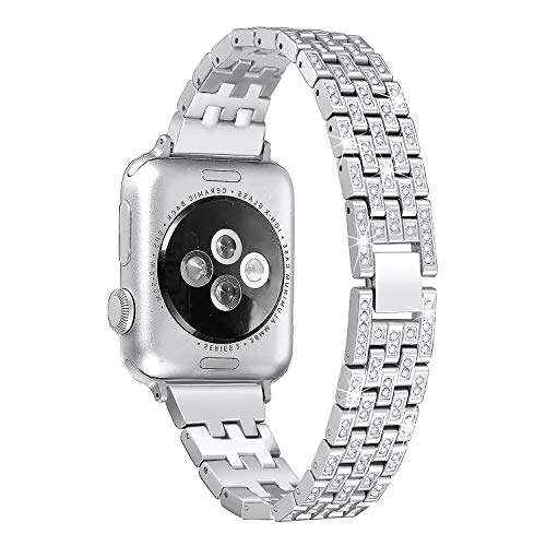 Secbolt Bling Metal Bands Compatible Apple Watch Band 38mm 40mm iWatch Series 4/3/2/1, Dressy Diamond Bracelet Wristband Women, 4 Colors Available, Silver