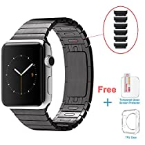Eoso Link Bracelet Stainless Steel apple wtach Band with Double Button Folding Clasp for iWatch All Models 42mm - Black (Removable Link Directly by Hand without Any Tools)