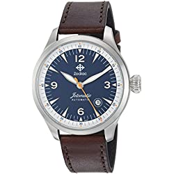 Zodiac Men's 'Jetomatic' Swiss Automatic Stainless Steel and Leather Casual Watch, Color:Brown (Model: ZO9105)
