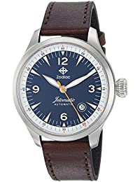 Men's 'Jetomatic' Swiss Automatic Stainless Steel and Leather Casual Watch, Color:Brown (Model: ZO9105)