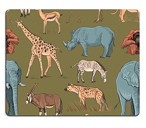 Ostrich Pattern Camel (Luxlady Mouse Pad Natural Rubber Mousepad ID: 44082023 Seamless animal planet pattern with giraffe lioness hyena orangutan parrot rhino zebra deer lemur ostrich anteater)