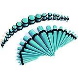BodyJ4You 36PC Gauges Kit Turquoise Acrylic Taper Plug 14G-00G Ear Stretching Set O-Rings Body Piercing