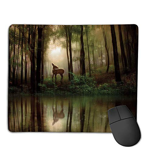 Premium-Textured Mouse Mat,Non-Slip Rubber Mousepad Waterproof,Nature,Baby Deer in The Forest with Reflection on Lake Foggy Woodland Graphic,Fern Green Cocoa Brown,Applies to Games,Home, School,offi