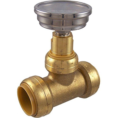 SharkBite 24441 Brass Push-to-Connect Tee with Water Temperature Gauge, 1