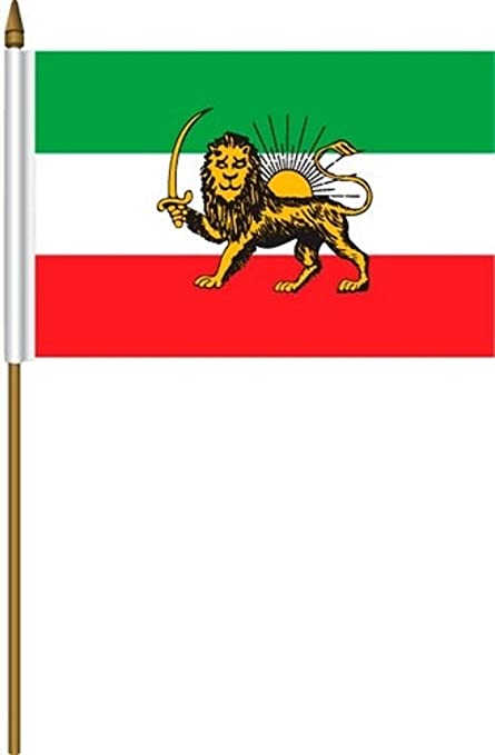 """IRAN PERSIAN LION OLD COUNTRY SMALL 4 X 6  MINI STICK FLAG WITH 10/"""" PLASTIC POLE"""