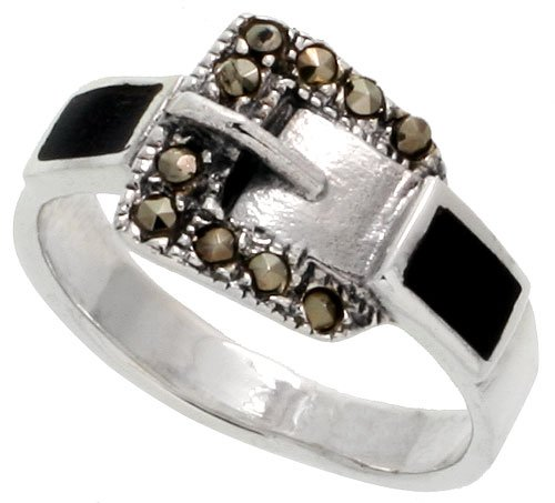 Sterling Silver Marcasite Belt Buckle Jet Stone Ring, 3/8