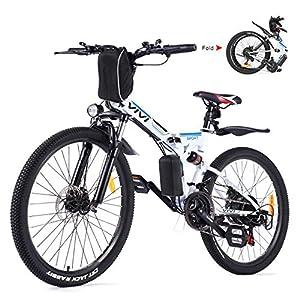 51RTiUQWAlL. SS300 Vivi Bici Elettrica Pieghevole, 26'' Mountain Bike Elettrica 350W Bicicletta Elettrica per Donna e Uomo con Batteria Rimovibile 8Ah, Professionale 21 velocità, Sospensione Completa