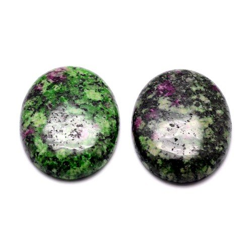 3 x Green/Black Ruby In Zoisite 13x18mm Oval-Shaped Flat-Backed Cabochon - (Y07410) - Charming Beads