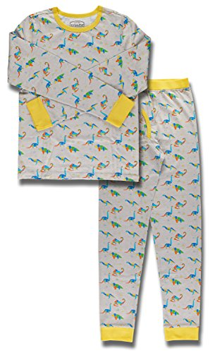 Trimfit Big Boys Organic Cotton 2-Piece Long Sleeve Dreamwear Pajama Set, Geo Dinos, Medium / 8-10