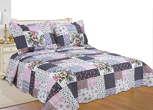 ALL FOR YOU 3-Piece Reversible Bedspread/Coverlet/Quilt Set-, Pink, Burgundy, Blue,Navy and Green Patchwork Prints (Full/Queen)