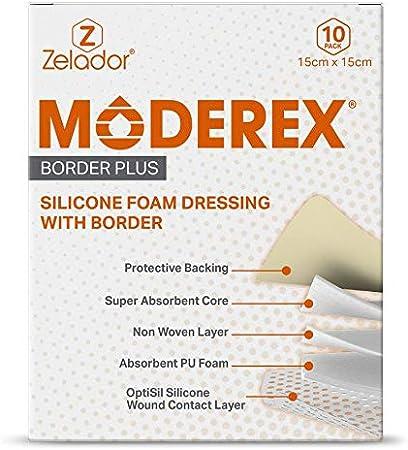 Apósito de espuma de poliuretano de silicona (Moderex Border Plus) con borde y capa de contacto de silicona Optisil (15 x 15 x 10 cm): Amazon.es: Salud y cuidado personal
