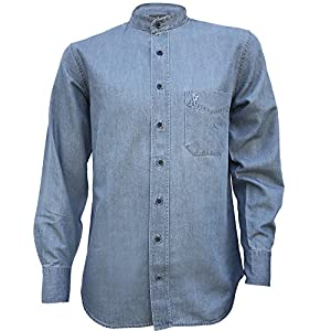 The Celtic Ranch Irish Grandfather Collarless Cotton/Tencel Denim Shirt in Light Blue Indigo Wash