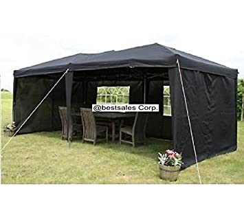 Black 6 x 3 m Waterproof Pop Up Gazebo Tent w/ Six Side Panels.  sc 1 st  Amazon UK & Black 6 x 3 m Waterproof Pop Up Gazebo Tent w/ Six Side Panels ...