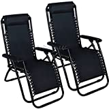 New High Quality Patio Lounge Beach Outdoor Folding Recliner Chair Zero Gravity Pool 2 Chairs Reclining Chaise Yard Tray Utility Lawn 2 piece