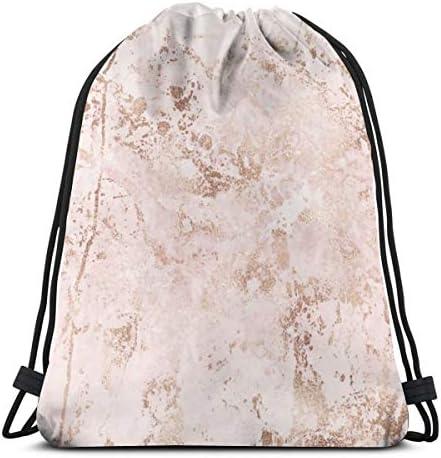 ピンクの大理石とゴールドのテクスチャドローストリングバッグバックパックジムダンスバッグバックパックハイキングビーチトラベルバッグ36 x 43cm