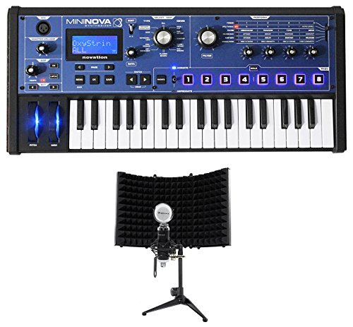 Novation MiniNova 37-Key USB MIDI Keyboard Synthesizer+Mic+Foam Isolation Shield -
