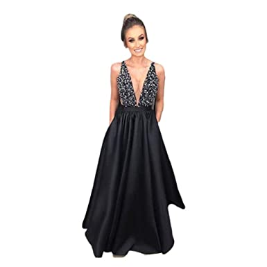 ead41a7e554 Amazon.com: Women's Sexy Deep V Neck Long Paty Dress Black Sleeveless  Sequins Night Dress Vintage Backless Summer Dresses: Clothing