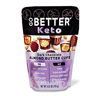 GO BETTER Keto Cups | No Carbs, Gluten Free, Vegetarian, No Sugar, No Artificial Sweeteners, Non GMO, Soy Free, Peanut Free, Fat Bombs | 4.25 oz Bag (Almond Butter, 1 Bag)