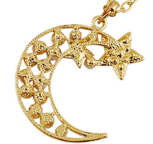 Beancase(TM) Fashion Vintage Moon and Star Diamond Mounted Necklace
