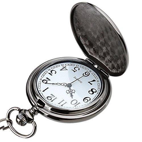 WIOR Classic Smooth Vintage Pocket Watch Sliver Steel Men Watch with 14'' Chain for Xmas Fathers Day Gift