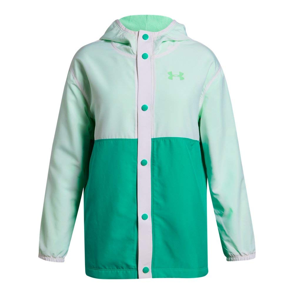 Under Armour Girls Phenom Jacket, White (101)/Green Typhoon, Youth X-Small