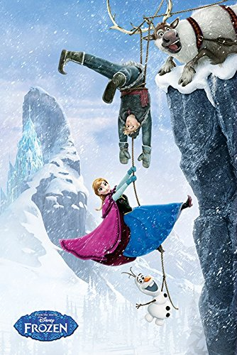 Frozen - Disney Movie Poster (Anna, Kristoff, Olaf & Sven - Hanging From Mountain) (Size: 24