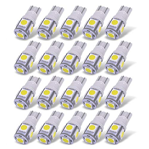 - YITAMOTOR 20X T10 Wedge 5-SMD 5050 White LED Light Bulbs W5W 2825 158 192 168 194 Interior Reading Dome Map Cargo Trunk Door Doorstep Courtesy License Plate Side Marker Light