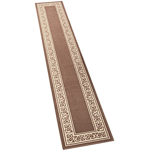 "Collections Etc Extra Long Floral Skid-Resistant Border Rug, Sand, 20"" X 120"""