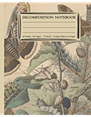 """Decomposition Notebook: Vintage butterfly ephemera classics College Ruled Lined Paper Journal Notebook for Students and Teachers - Home School Supplies - 7.5"""" x 9.25 """" - 120 Pages , 60 Sheet."""