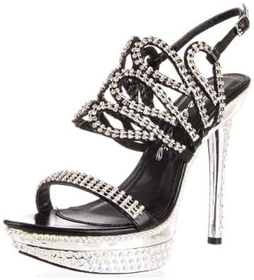 Celeste Women's Natalie-07 Ankle-Strap Sandal,Black,7.5 M US